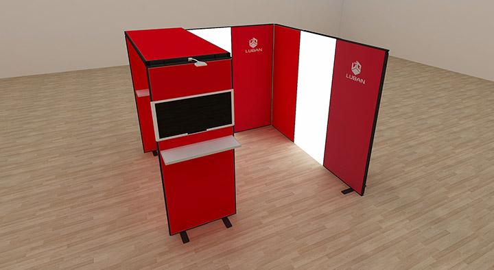 Upload your own company graphics to render an impression of your final booth.